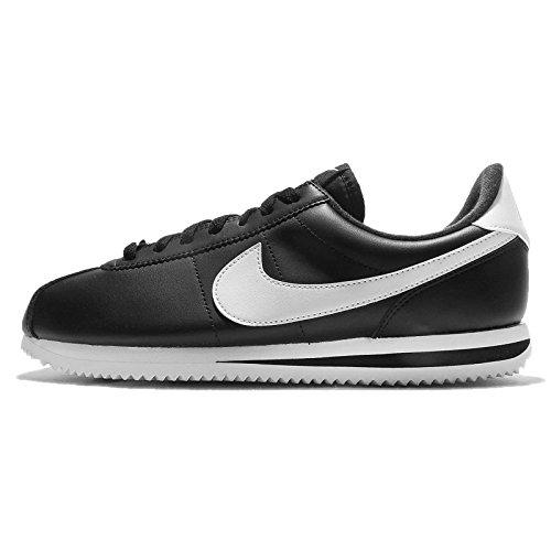 Nike Mens Cortez Basic Leather Black/White/Metallic Silver Casual Shoe 10.5 -