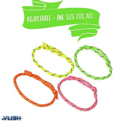 Vlish 144 Neon Woven Rope Adjustable Friendship Bracelets in 4 Assorted Neon Colors, Great Christmas Stocking Stuffer, Goody Bags or for Halloween: Toys & Games
