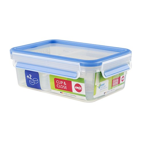Emsa Clip and Close Storage Rectangle Container with 2 Inserts, 34-Ounce, Blue