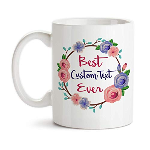 Personalized Best Ever with Custom Name Title Monogram Ceramic Coffee Mug Floral Wreath Design