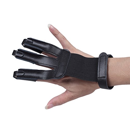 Edealing Archery Gloves 3 Finger Handmade Leather Guard Shooting Finger Protector For Compound Bow