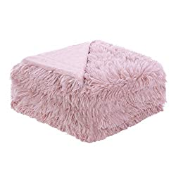 Uxcell Solid Faux Fur Twin Size Blanket 59 Inches X 78 Inches Decorative Fuzzy Long Shaggy Blankets Lightweight Long Fur Microfiber Fleece Blanket For Bed Couch Keep Warmth For Year Pale Mulberry