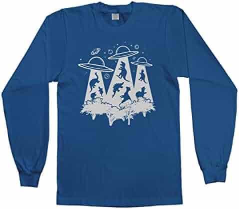 6f11870c9 Threadrock Kids Dinosaur Alien Abduction Youth Long Sleeve T-Shirt