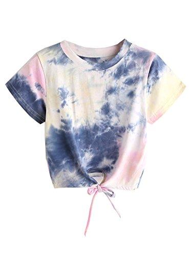 SweatyRocks Women's Tie Dye Print Tie Front Short Sleeve Crop Top T-Shirt Purple S