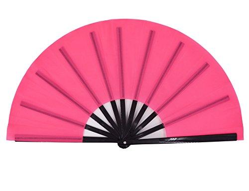 Amajiji Large Folding Fan, Chinease/Japanese Folding Silk Hand Fan, Women Hand Folding Fans Hand Fan Gift Fan Craft Fan Folding Fan Dance Fan (Pink)