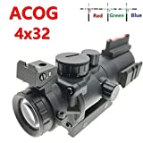 Huntiger 4×32 RGB Triple Illuminated BDC Rapid Range Reticle Prismatic Compact Rifle Scope W/Top Fiber Optic Sight and Weaver Slots Review