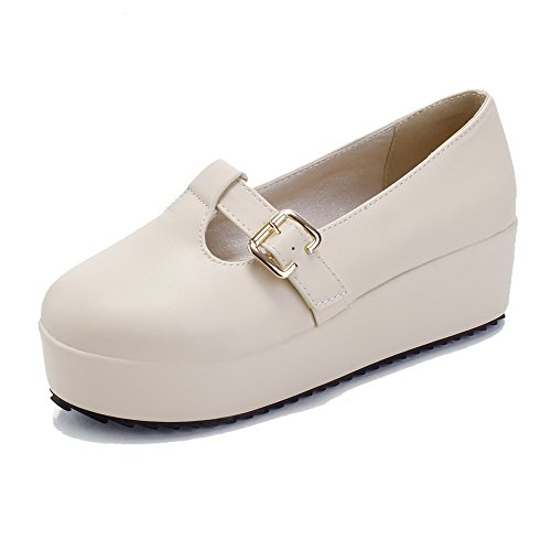 Round Kitten Beige Buckle VogueZone009 Solid Toe Material Pumps Heels Soft Women's Shoes Closed wawUp