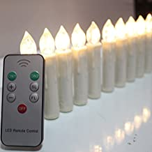 TBW Flameless Ivory Mini Simulated Wax Dipped Flickering LED Taper Candles with Remote and Removable Clips for Baroque Candle Chandelier