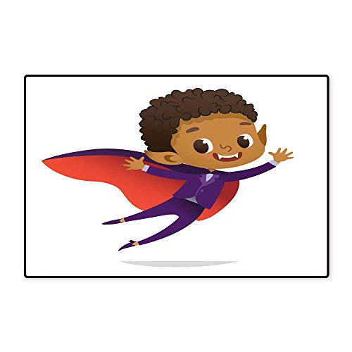 Floor Mat PatternKids Costume Party African American Dracula Vampire Boy in Halloween Devil Costume Laughing and Flying Cartoon Vector Character for Party Invitations Web Mascot Isolated W31.49 xL47. -