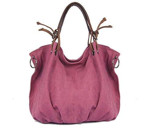 - Tom Clovers Unisex Classy Look Canvas Oversized Vintage Hobo Simple Style Top Handle Genuine Leather Tote Handbag Shoulder Weekender Crossbody Bag Rose Red Large