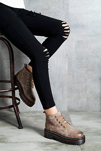 Bininbox Femmes Daim Lacets Bottes De Moto Plate-forme Chaussures Café Léger
