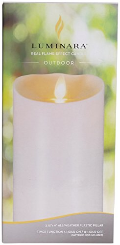 Luminara Outdoor Flameless Candle: Plastic Finish, Unscented Moving Flame Candle with Timer (9'' Ivory) by Luminara (Image #6)