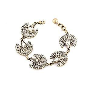 Women's Gold and Crystal Fan Charm Bangle Bracelet