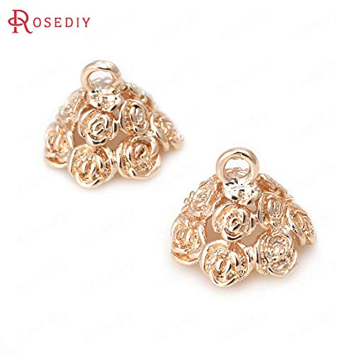 FidgetFidget Beads (30818) 4PCS 11x14MM 24K Gold Color Brass Rose Caps Tassel Caps Findings ()