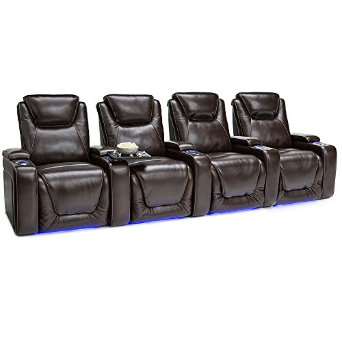 Seatcraft Equinox Home Theater Seating Power Recline Leather (Row of 4, Brown) (Gaming Entertainment Home Chair)