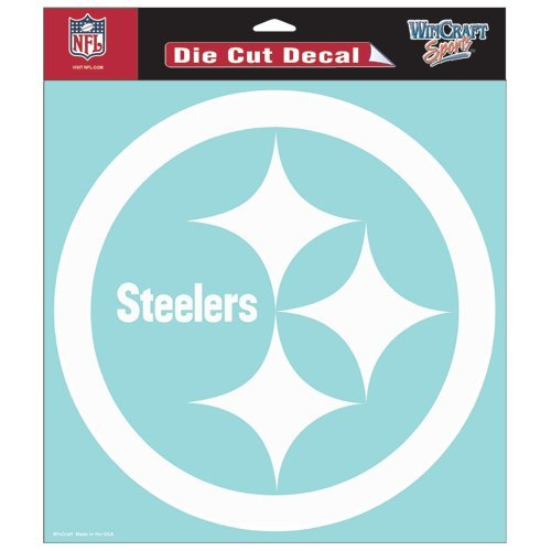 Pittsburgh Steelers NFL Vinyl Die Cut Window Decal Auto Car Logo White 8x8 Sticker Football Licensed Team Logo (Nfl Car Window)