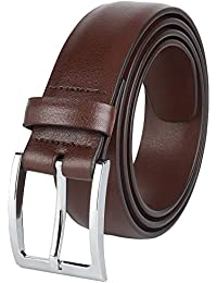 "Mens Dress Leather Belt 35MM 1.38"" wide Black Brown Tan & Reversible"