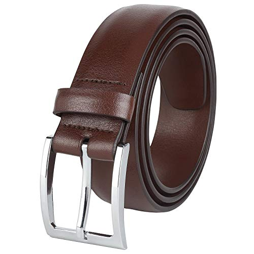 - Savile Row Mens Classic Dress Belt 100% Leather 35 MM Brown Size 32