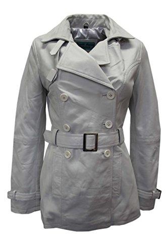 'Trench' Ladies White Classic Mid-Length Designer Real Leather Jacket Coat (US 12/UK 16) ()