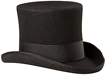 Scala Men's Wool Felt Top Hat, Black, Small