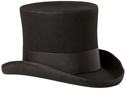 Scala Men's Wool Felt Top Hat, Black, Medium (Scala Leather)