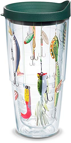 Tervis 1139093 Fishing Tumbler with Wrap and Hunter Green Lid 24oz, Clear