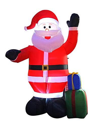 SEASONBLOW 8 Ft Inflatable Portable Christmas Santa Claus Xmas Indoor Outdoor Lawn Yard Decoration Place Box Beside Foot