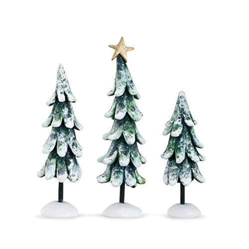 DEMDACO Snowy Christmas Trees Green 3 Piece Resin Tabletop Figurines Assorted Set of -