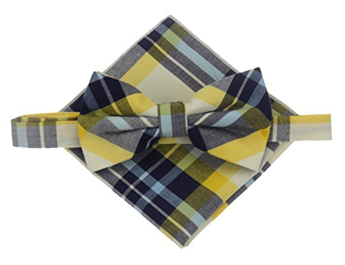 Mens Cotton Madras Pretied Bowtie Set (Yellow Madras)