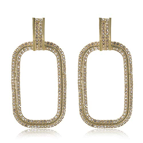 - WXART Geometric Rectangle Mosaic Drop Earrings and Square Metal Hoop Dangle with Handmade Crystal Ornament Statement Jewelry for Women (Gold)
