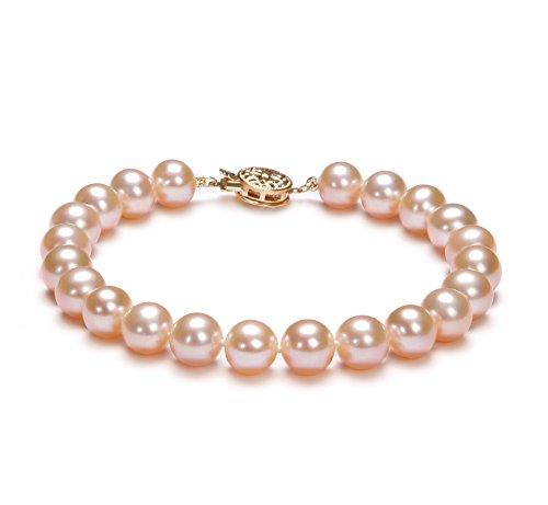 Rose 7-8mm AAA-qualité perles d'eau douce 585/1000 Or Jaune-Bracelet de perles
