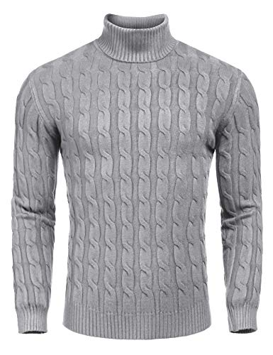 - COOFANDY Men's Slim Fit Turtleneck Sweater Casual Twisted Knitted Pullover Sweaters,Grey,Small