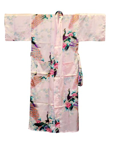 [Hinky Imports Exotic Peacock Floral Robe, Traditional Chinese Kimono Robe (Light Pink)] (Dominatrix Ideas)