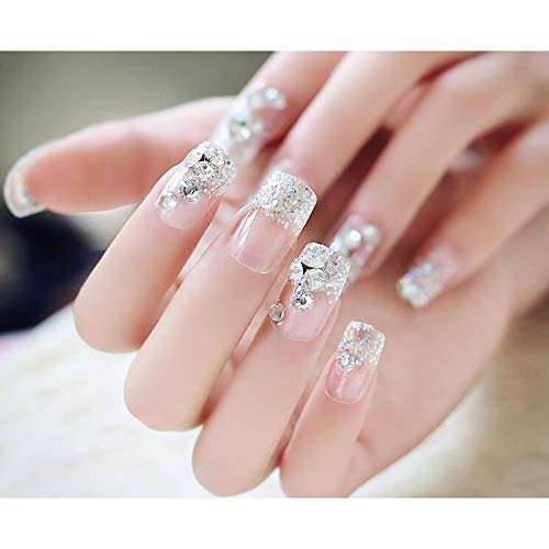 Dongcrystal 24Pcs 3D Bling Nail Art Jewelry Glitter Rhinestone Decor Nail Tips Fake Nails -