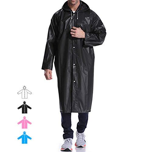 (Hapshop Portable Waterproof Raincoat,Rain Poncho,Rainwear for Adult-by (Black-4Pack))
