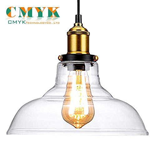 Vintage Pendant Light, CMYK Industrial lamp Clear Glass Hanging Lampshades For Loft Bar Cafe Bedroom Office Home Decorative Lighting