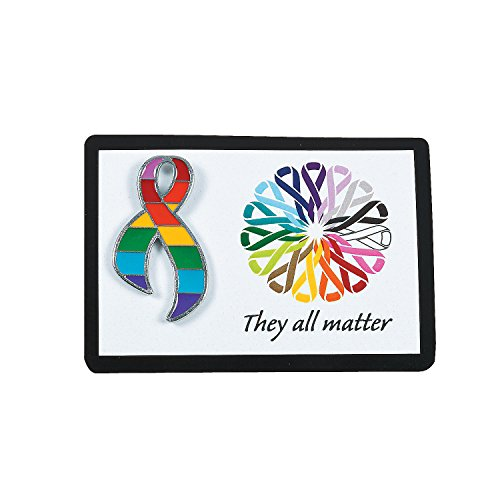 Fun Express - Cancer Awareness Pin On Card - Jewelry - Pins - Pin & Card Sets - 12 Pieces