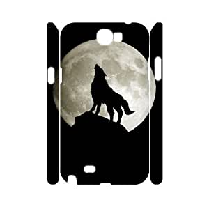 Personalized New Print Case for Samsung Galaxy Note 2 N7100 3D, Wolf and Moon Phone Case - HL-R663438