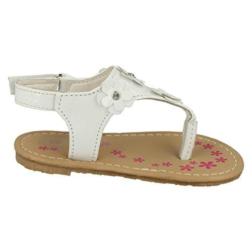 Mädchen Spot On Zehensteg Sommer Sandalen Weiß