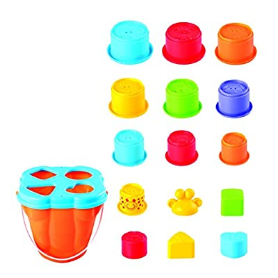 PlayGo Giraffe Activity Center Stacking Cups Baby Toys Educational Toddler Toys Top Blocks Game Kit BPA Free Toys for 1 2 3 4-5 Year Old Girls Boys: Toys & Games