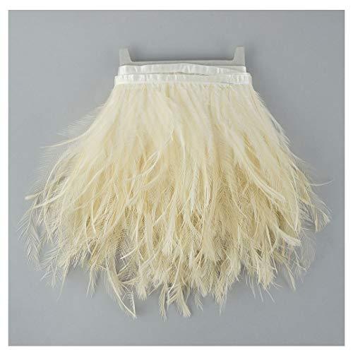 Ostrich Emu Feather Fringe Trim - 1 yd Ivory Ostrich Feather Trim Craft Supplies -