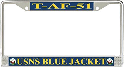VR Graphics Blue Jacket T-AF-51 Metal License Plate Frame - American Made - Made in ()