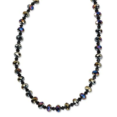 1928 Black-plated Aurora Borealis Black Glass Beads 16in w/ext Necklace