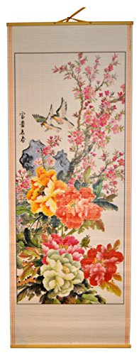 - Harvey J Rattan Wall Scroll - Flowers Birds