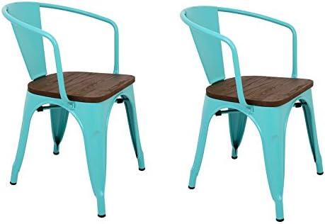 La Silla Española - Pack 2 Sillas estilo Tolix con respaldo, reposabrazos y asiento acabado en madera. Color Turquesa. Medidas 73x53,5x52: Amazon.es: Hogar