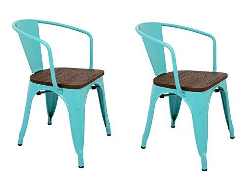 La Silla Española - Pack 2 Sillas estilo Tolix con respaldo, reposabrazos y asiento acabado en madera. Color Turquesa. Medidas 73x53,5x52