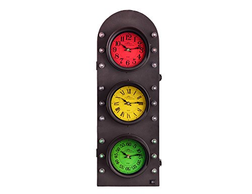 Utopia Alley Traffic Light Clock with Storage Wall Decor, Battery Operated, 25