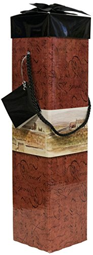 Wine Gift Box - Reusable Caddy - Easy to Assemble - No Glue Required - Gift Tag and Ribbon Included - Medoc Collection - EZ Wine Gift Box By Endless Art US (Chateau Design)