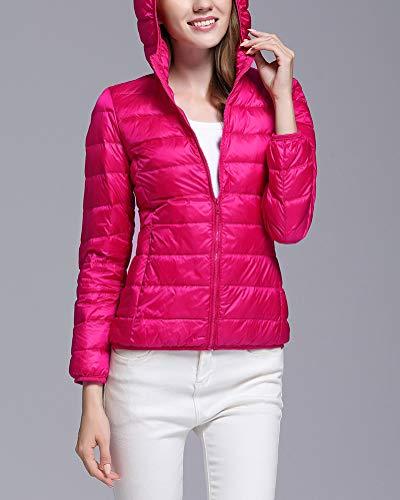 Giubbotto Elegante Piumino Casual Donna Fit Cappotto Con Rossa Rosa Slim Giacca Cappuccio Invernale TSBB1zqa