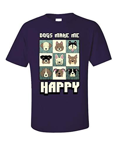 Love Peyton T-shirt - Puppy Love - Dogs Make Me Happy - Unisex T-Shirt Purple